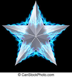 Silver star surrounded by blue fire