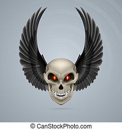 Mutant skull - Evil looking mutant skull with raised black...