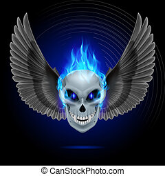 Flaming mutant skull - Mutant skull with blue flame and...