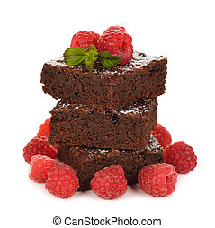 Chocolate brownies with raspberries on white background