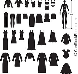 Clothing set - Set silhouette image of woman's clothing