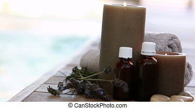 Beauty treatments presented with dried lavender and candles...