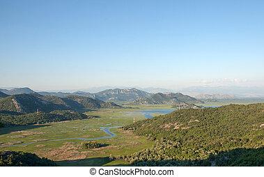 Skadar lake, Montenegro - Panoramic view of Skadar lake in...