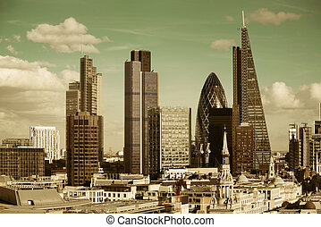 London city rooftop view with urban architectures.
