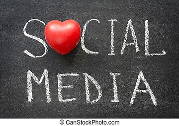 social media words handwritten on blackboard