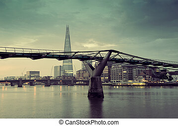 Thames River - LONDON, UK - SEP 27: The Shard and Millennium...