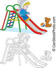 Child on a slide - Little boy or girl sliding down on a...