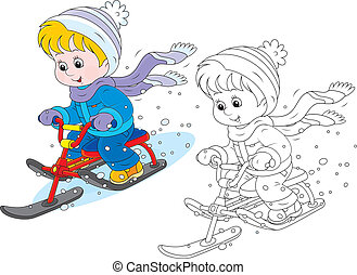 Child on a snow scooter - Little boy or girl sitting on a...