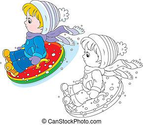 enfant, gonflable, neige, tube