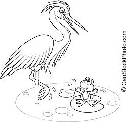 Heron and frog - Egret standing on one leg and frog sitting...