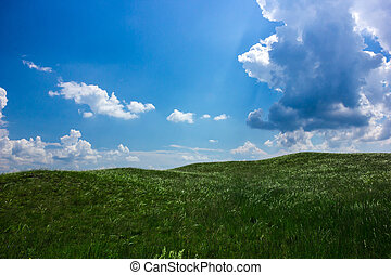 Cloudy sky with grassy field