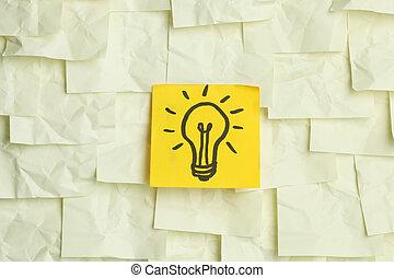 Lightbulb on sticky notes