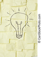 Lightbulb on sticky notes