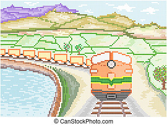 Diesel Train on Countryside - An illustration of a vintage...