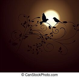 birds and sunset - love birds and ornamental plant at sunset