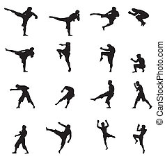kick boxing martial art vector