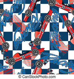 Open wheel racing seamless pattern
