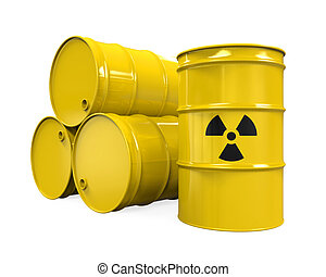 Yellow Radioactive Barrels isolated on white background. 3D...
