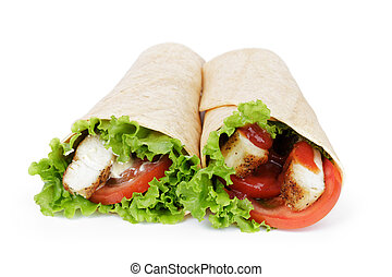 tortilla chicken wraps, isolated on wwhite background