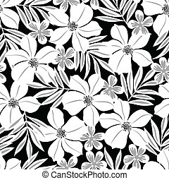 White tropical flower on a black background seamless pattern