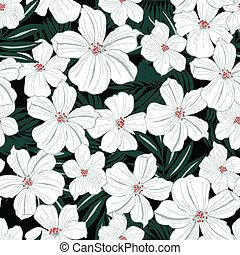 White tropical flowers seamless pattern