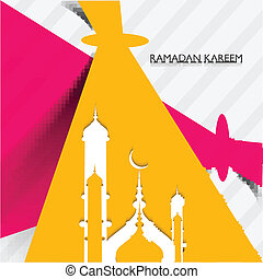 Mosque ramadan kareem creative concept colorful vector...