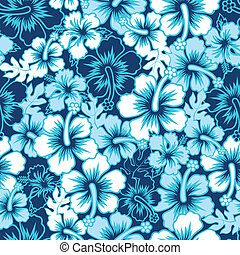 Surf floral hibiscus seamless pattern - A Surf floral...