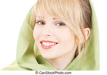 green kerchief - picture of teenage girl in green kerchief