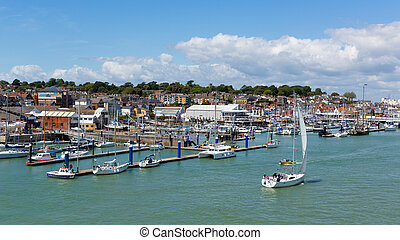 Cowes harbour Isle of Wight boats