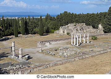 Asclepio at Kos island in Greece. - The sanctuary of...