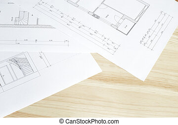 Close-up of architects blueprint - Close-up of architects...
