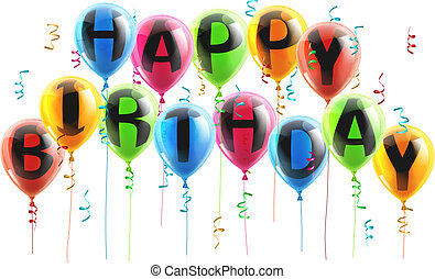 Happy Birthday balloons - An illustration of colorful Happy...