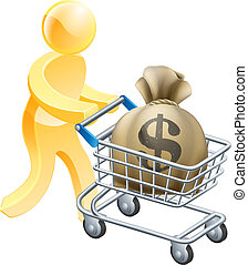 Money shopping cart trolley person - Person with shopping...