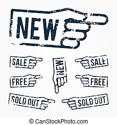 pointing hand rubber stamps: new, sale, free, sold out over...