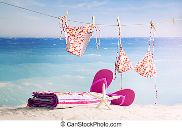 beach accessories - Summer concept with swimming accessories...