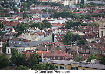 The main  view of Vilnius Old town from its hills, Lithuania