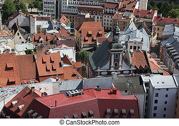 The aerial view of Riga, Latvia