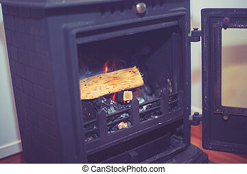 Woodburner with log burning