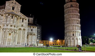 PISA, ITALY - 3 JUNE 2014: Piazza dei Miracoli. Night Time...