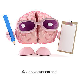 3d Brain is organised - 3d render of a brain with a...
