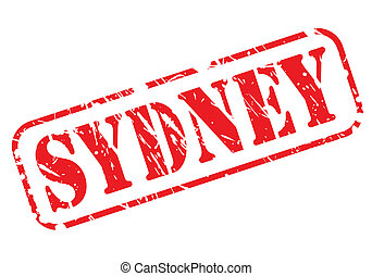 SYDNEY red stamp text on white