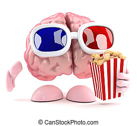 3d Brain at the movies - 3d render of a brain eating popcorn...