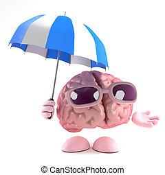 3d Brain storm - 3d render of a brain using an umbrella to...