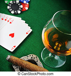drink and playing cards - Cigar, chips for gamblings, drink...