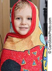 little boy - Head of little boy in red-yellow towel