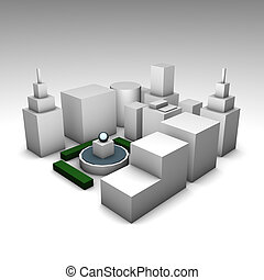 Concrete Jungle 3d City as a Illustration Concept