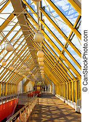 Yellow corridor without people - Yellow corridor blue sky...