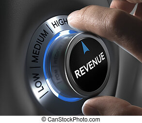 Increase Sales Revenue - finger turning a revenue button to...