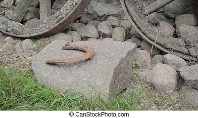 hand horseshoe stack - hand make stack of rusty retro horse...