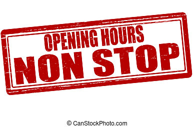 Opening hours non stop - Stamp with text opening hours non...